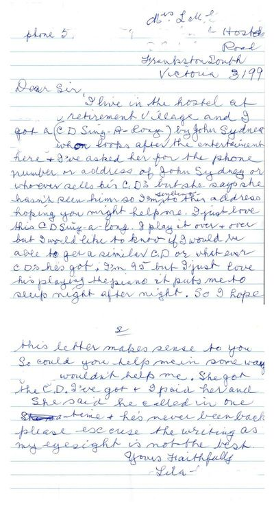 Lila's letter to Graeme